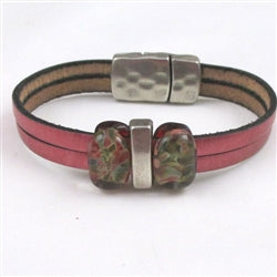 rose leather bracelet for a woman