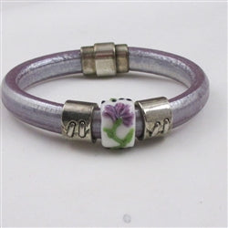lilac leather bracelt