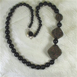 Buy Designer Black Beaded Bead & Onyx Necklace on-line