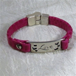 Love ID Style Leather Bracelet Pink