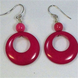 Buy Hot Bright Pink Eco-Friendly Tagua Nut Earrings