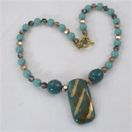 buy handmade Kazuri turquoise pendant necklace