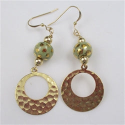 Fair trade Kazuri green and gold earrings