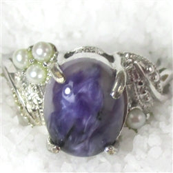 Woman's Purple Gemstone Fashion Right Hand  Ring