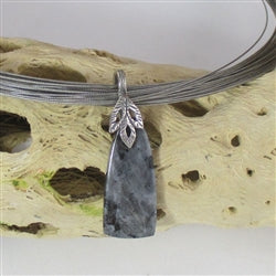 grey gemstone moonstone pendant on neck wire