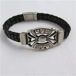 Black Leather Bracelet for a woman