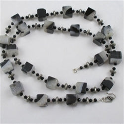 Buy extra long big bold black and white agate necklace