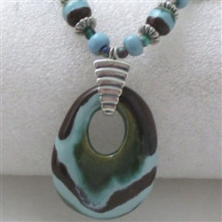 Buy handmade kazuri aqua pendant necklace