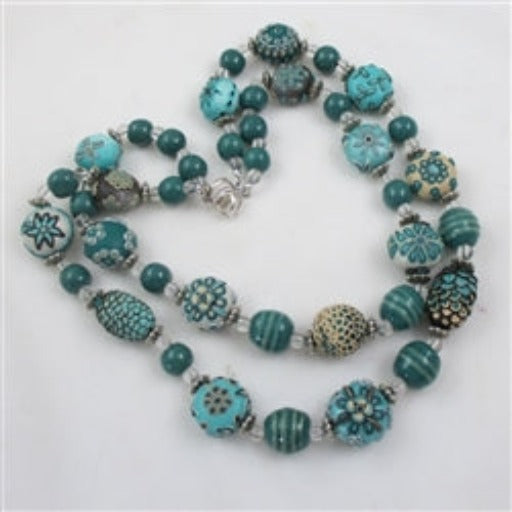 Fair trade samunnat & Kazuri teal necklace