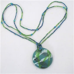 Buy Handmade Kazuri Pendant Necklace in Peacock on Zulugrass