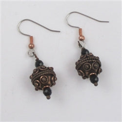 Copper Earrings with Onyx Accents