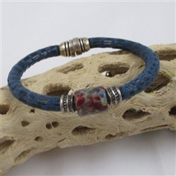 Blue Leather Cord Bracelet