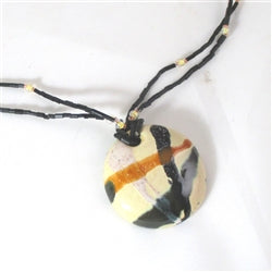 Fair Trade Kazuri Cream Pendant Necklace