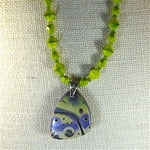 Green Crystal Bead Necklace with Artisan Handmade Pendant