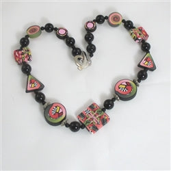 Handmade black & pink bead necklace