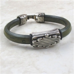 Green men leather bracelet