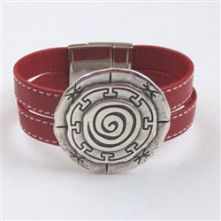 red leather cuff bracelet eith big focus