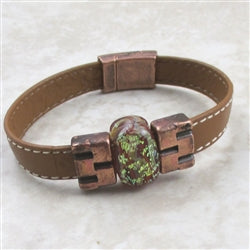 tan & copper leather bracelet