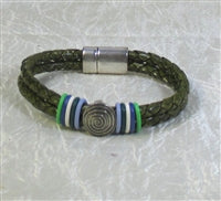 Mens green braided leahter bracelet