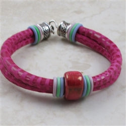 Pink leather cord anklet or bracelet