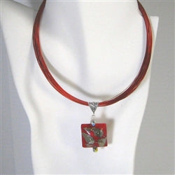 red classic handmade pendant necklace