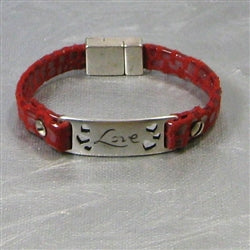 Love Red Leather Bracelet