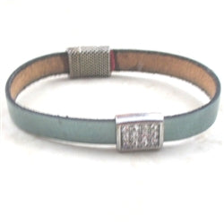 Classic aqua leather anklet/bracelet