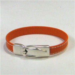 Buy orange goat leather bracelet Classic with buckle clasp