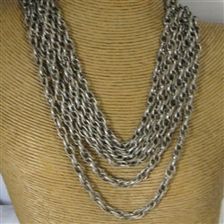 Extra long silver chain necklace Multi-strand