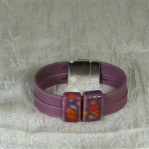 Cuff leather bracelet purple