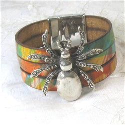 Statement Big Bold Spider Cuff Leather Bracelet