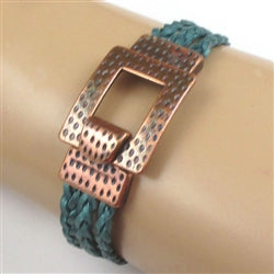 Braided Leather Bracelet in a cuff style