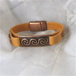 buy copper focus leather ID bracelet