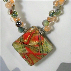 Handmade peach artisan bead  necklace