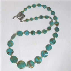 Turquoise coin necklace long