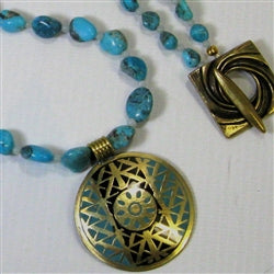 Buy Turquoise nugget necklacewith pendant