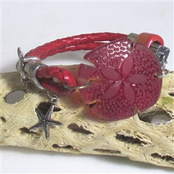 red braided leather bracelet in seashell motif