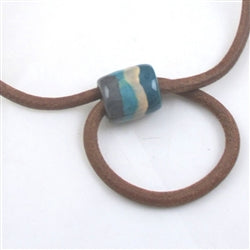 Leather and Kazuri necklace