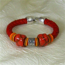 red leather & Kazuri Bracelet