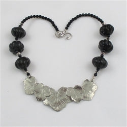 Buy Exquisite Handmade Black Kazuri Necklace with leaf accent