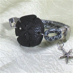 Black seashell motif leather braided leather cord Bracelet