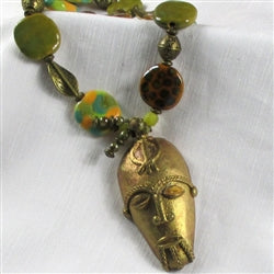Buy Tribal Mask & Kazuri Bead Pendant Necklace