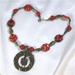 Big bold causal red Kazuri necklace