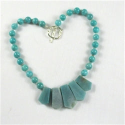 Buy alluring aqua gemstone beaded necklace design - Amazonite necklace