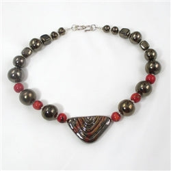 Buy black & red fair trade bead Kazuri Necklace online