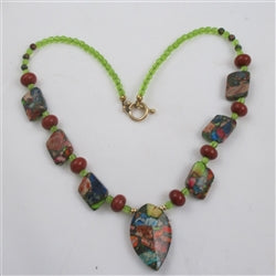 multi gemstone pendant necklace - jasper and peridot
