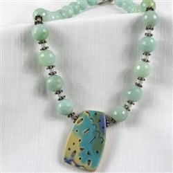 Buy amazonite necklace with handmade artisan pendant