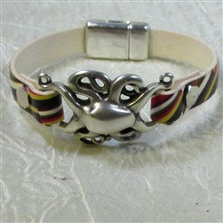 Buy unique focus on a black red and yellow leather bracelet Octopus