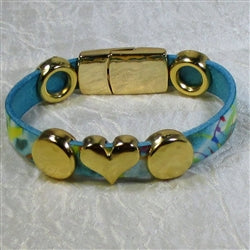 Buy Multi-colored blue yellow anf green leather bracelet for a woman