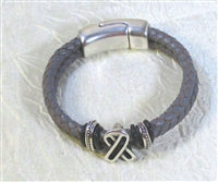 Grey brain cancer awareness braided leather bracelet
